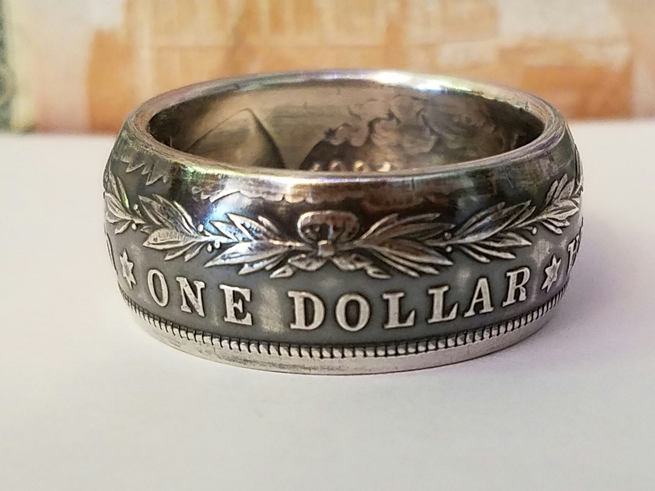 1921 High Grade Morgan Dollar Coin Ring Tails Side Out